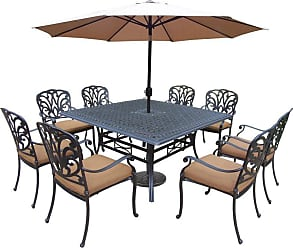 Oakland Living Outdoor Oakland Living Hampton Aluminum 11 Piece Patio Dining Set with Square Table Brown - 7206T-7201C8-D54-4005CPBK-4236-19-AB
