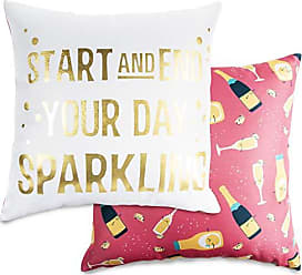 Pavilion Gift Company Pavilion-Star and End Your Day Sparkling-14x14 Inch Patterned Cover Pillow, Pink