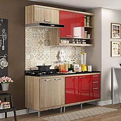 Multimóveis Cozinha Completa com Balcão com Tampo 5 Peças 7 Portas Sicília Multimóveis Argila/Vermelho