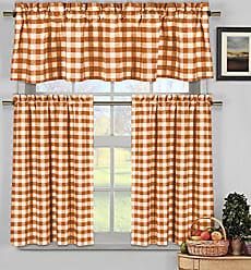 Duck River Textile Home Maison Kingston Plaid Gingham Checkered Cotton Blend Kitchen 3 Piece Window Curtain Tier & Valance Set, 2 29 x 36 & One 58 x 15, Orange