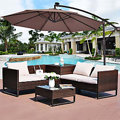 Overstock Costway 10 Hanging Solar LED Umbrella Patio Sun Shade Offset Market W/Base Tan