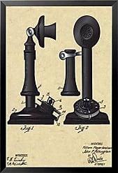 Buyartforless Framed The Telephone 18x21 Art Print Poster Telephone Patent Design Drawing Communication Devise Mechanical Design and Dimension