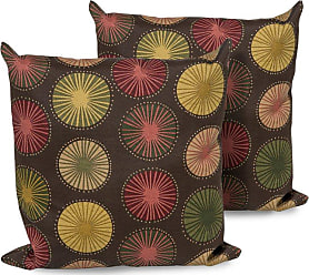 TK Classics Brown Medallion Square Outdoor Throw Pillows - Set of 2 - PILLOW-BRNSUNB-18X18-2X