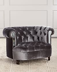 Haute House Home Rebecca Tufted Chair with Mirror Accents