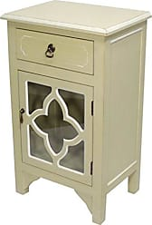 Heather Ann Creations Standing Single Drawer Distressed Cabinet, 30 x 18, Beige