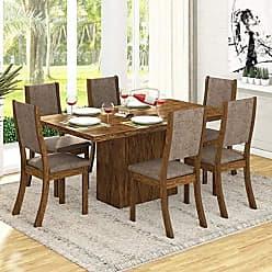 Viero Conjunto para Sala de Jantar Mesa e 6 Cadeiras Viero Dulce Avelã/Canela