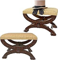 Design Toscano Mahogany Renaissance Curulis Ottoman Stool: Set of Two, Walnut