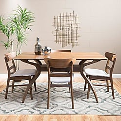GDF Studio Christopher Knight Home 299315 Leona Mid-Century Natural Walnut Finish 5 Piece Dining Set (Light Beige)