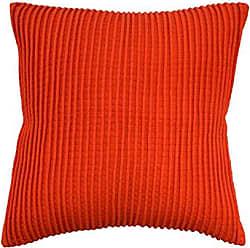 Ellery Homestyles WAVERLY 16865020X020ORG Brighton Blossom Pintuck Square Pillow, 20x20, Orange