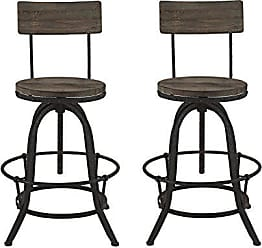 ModWay Modway Procure Modern Farmhouse Pine Wood and Iron Metal Adjustable Height Swivel Bar Stools in Brown - Set of 2