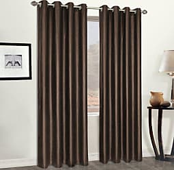 United Curtain Faux Leather Heavy Window Curtain Panel, 52 by 84-Inch, Brown
