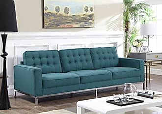 Iconic Home Draper Sofa Three Seat Linen Upholstered Button Tufted Square Arm Silvertone Metal Legs Couch, Modern Contemporary, Blue
