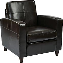 Office Star AVE SIX Bonded Leather Venus Club Chair with Solid Wood Legs, Espresso