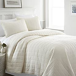 iEnjoy Home Simply Soft Quilted Coverlet Set Square Patterned, King/California King, Ivory