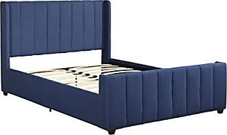 Christopher Knight Home 306985 Riley Fully-Upholstered Bed Frame - Queen-Size - Traditiona - Navy Blue, Black