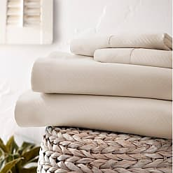 Noble Linens 800 Thread Count Premium Ultra Soft Embossed Chevron Sheet Set by Noble Linens, Size: Queen - NL-CHEV-QUEEN-IVORY