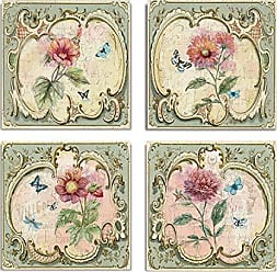 WEXFORD HOME Classical Flower Collection by Nan Set of 4 Gallery Wrapped Canvas Wall Art, 16x16, Frameless