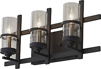 Feiss VS20003-AF/BS Ethan Vanity Fixtures in Antique Forged Iron / Brushed Steel finish with Clear Glass