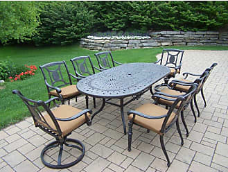 Oakland Living Outdoor Oakland Living Victoria Aluminum 9 Piece Oval Patio Dining Set - 7804T-7813C6-7814S2-D54-4005BN-4101-19MC