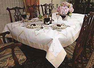 Violet Linen Dainty Embroidered Design Oblong/Rectangle Tablecloth, 70 X 88, Beige