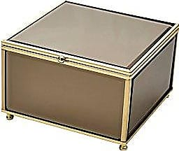 Benzara Versatile Square Wood and Glass Storage, Brown Wooden Box, 6 x 6 x 3.75 inches