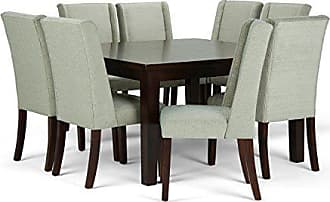 Simpli Home Simpli Home AXCDS9SB-MST Sotherby Contemporary 9 Pc Dining Set with 8 Upholstered Dining Chairs and 54 inch Wide Table