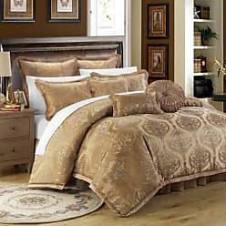 Chic Home 9 Piece Como Decorator Upholstery Quality Jacquard Motif Fabric Bedroom Comforter Set & Pillows Ensemble, King, Gold