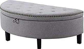 Iconic Home Jacqueline Tufted Grey Soft Brushed Linen Half Moon Storage Ottoman with Gold Nail Head Trim