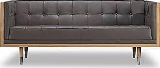 Kardiel Woodrow Midcentury Modern Box Loveseat, Grey Aniline Leather/Ash