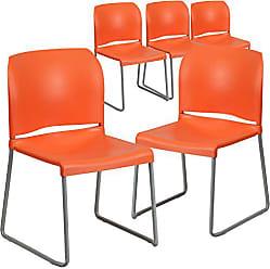 Flash Furniture 5 Pk. HERCULES Series 880 lb. Capacity Orange Full Back Contoured Stack Chair with Sled Base