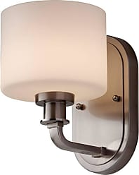 Feiss VS29001-BS Kincaid Vanity Strip in Brushed Steel finish with Opal Etched Glass