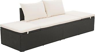 Overstock vidaXL Outdoor Lounge Bed Poly Rattan Black Wicker Patio Pool Sofa Sunlounger