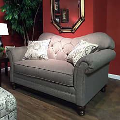 Round Hill Furniture Metropolitan Dark Beige Fabric Upholstery Wood Frame Loveseat with Pillows - LHU8750L-AS