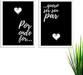 Los Quadros Kit de Quadros Decorativos 2 Peças Por Onde For, Quero Ser Seu Par Los Quadros Preto/Branco
