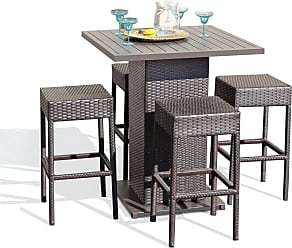 TK Classics Napa Pub Table Set With Backless Barstools 5 Piece Outdoor Wicker Patio Furniture