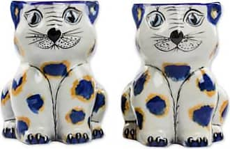 Novica Terracotta mugs, Gatos Amigueros (pair)