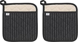 Now Designs Superior Potholders, Set of Two, Pinstripe Black