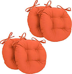 Blazing Needles Solid Twill Round Tufted Chair Cushions (Set of 4), 16, Tangerine Dream