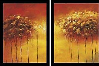 Buyartforless Framed Two Piece Set Transcendental Grove I by Hailey Stevens 24x18 Art Print Poster Abstract Painting Sun Trees Orange