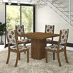 Viero Conjunto para Sala de Jantar Mesa e 4 Cadeiras Viero Kiara (com tampo) Avelã/Passion