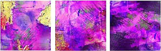 Ready2HangArt 3 Piece Abstract Canvas Wall Art Set, 16 High x 16 Wide x 1 to 2 Deep, Purple/Pink/Yellow