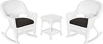 Jeco W00206R-B_2-RCES017 3 Piece Rocker Wicker Chair Set with with Black Cushion, White