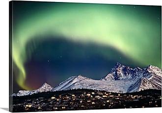 Great Big Canvas Aurora Borealis over Hillside Neighborhood in Alaska Thick-Wrap Canvas Wall Art Print - AKSARZZ0002_24_24X16_NONE