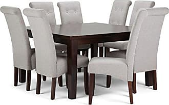 Simpli Home Simpli Home AXCDS9-COS-CLG Cosmopolitan Contemporary 9 Pc Dining Set with 8 Upholstered Dining Chairs and 54 inch Wide Table