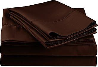 Superior Cotton Blend 600 Thread Count, Deep Pocket, Soft, Wrinkle Resistant 4-Piece King Bed Sheet Set, Classic Hemstitch Chocolate