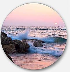 DESIGN ART Designart MT10390 C11 Rocky Coast with Foam Waves Seashore Disc, 11 x 11, Red/Orange