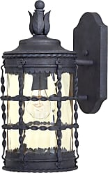 Minka Lavery The Great Outdoors 1 Light Wall Mount In Spanish Iron Textured Black Powder Coat Finish W/ Champagne Hammered Glass