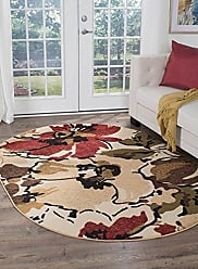 Tayse Cali Contemporary Floral Beige Oval Area Rug, 5 x 7 Oval