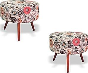 Nay Multicoisas Kit 2 Puffs Decorativo Angel Suede Floral - Nay Estofados