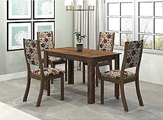 Viero Conjunto Sala de Jantar Mesa Violeta 4 Cadeiras Kiara Viero Grigio/Passion